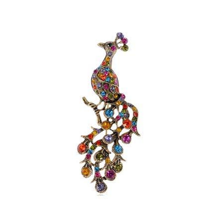 Colorful Crystal Rhinestone Brass Gold Tone Oriental Bird Peacock Pin Brooch