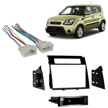Fits Kia Soul 2012-2013 Single DIN Aftermarket Harness Radio Install Dash  Kit