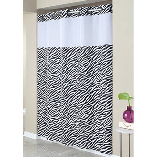 Hookless Zebra Print Mystery Polyester Shower Curtain