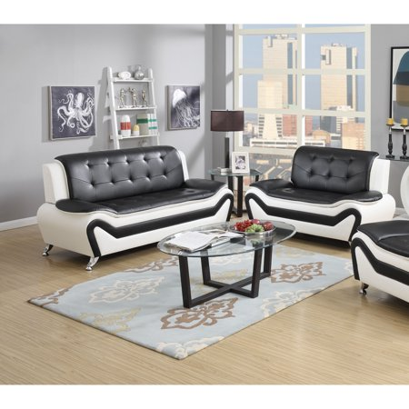 Two Seat Leather Sofa (US Pride Furniture Wanda Modern Contemporary Bonded Leather 2-Pc Two Tone Sofa and Love Seat Set, Black/White, S5067-2PC)