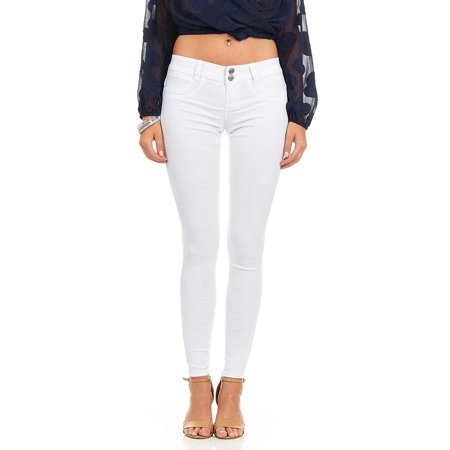 522e314eb11 YDX Jeans - Cover Girl Denim Hyper Stretch Skinny Jeans Colorful Junior/Plus  Sizes 3 Snow White - Walmart.com