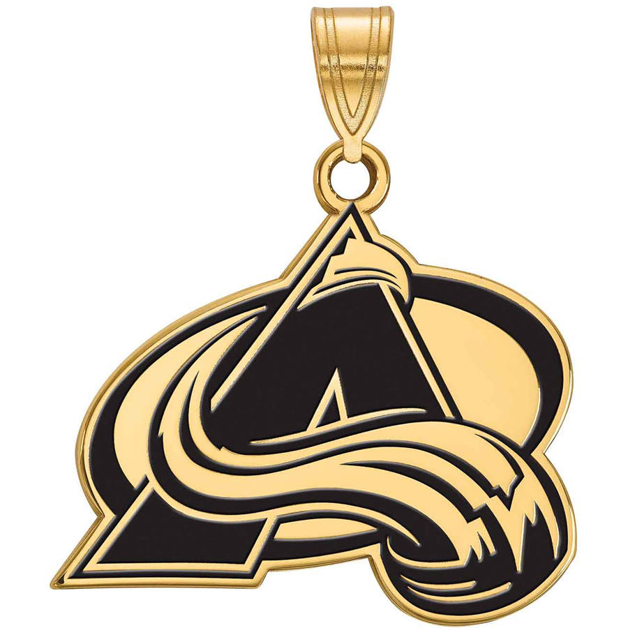 LogoArt NHL Colorado Avalanche 14kt Gold-Plated Sterling Silver Large Enamel Pendant