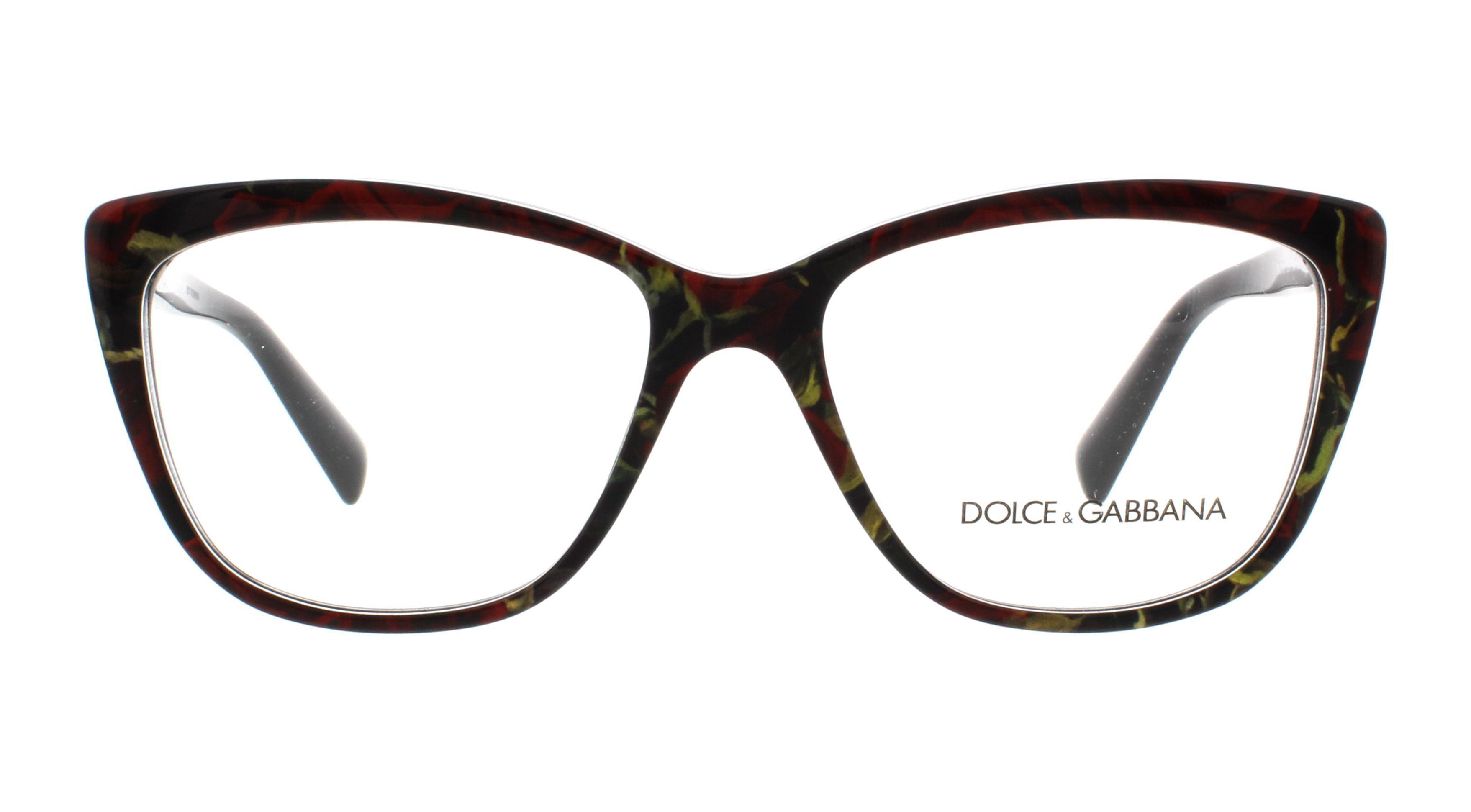 22575b7b8ad DOLCE   GABBANA Eyeglasses DG3190 2938 Printing Roses On Black 54MM -  Walmart.com