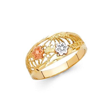 14K Tri Color Solid Gold Fancy Flower Ring - size 4 14k Tri Color Gold Ring