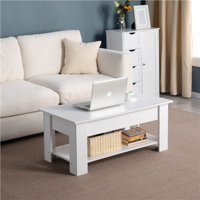 Wooden Lift Top Coffee Table Hidden Compartment & Storage,White