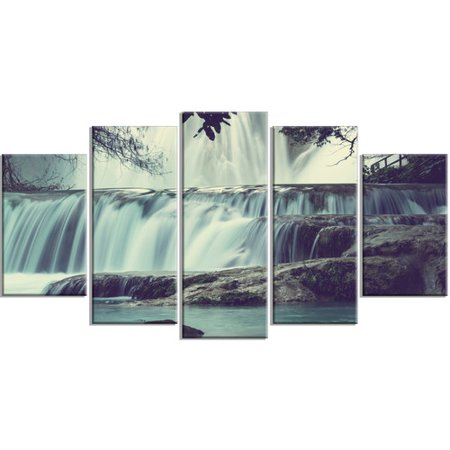 Design Art 'Amazing Waterfall in Mexico' 5 Piece Photographic Print on Wrapped Canvas (Amazing Waterfall)