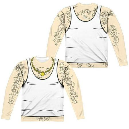 Trevco CN879FB-ALPP-2 Aqua Teen Hunger Force-Carl Costume Front & Back Print by Long Sleeve Adult Poly Crew, White - Medium