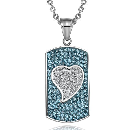 - Magic Heart Austrian Crystals Amulet Love Energy Aqua Blue and White Dog Tag Pendant 18 Inch Necklace