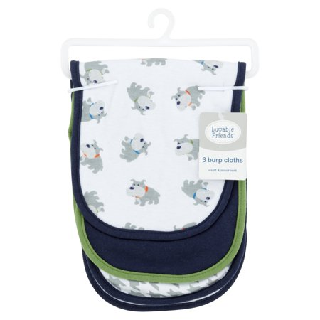 Luvable Friends Baby Boy and Girl Burp Cloths, 3-Pack - Blue