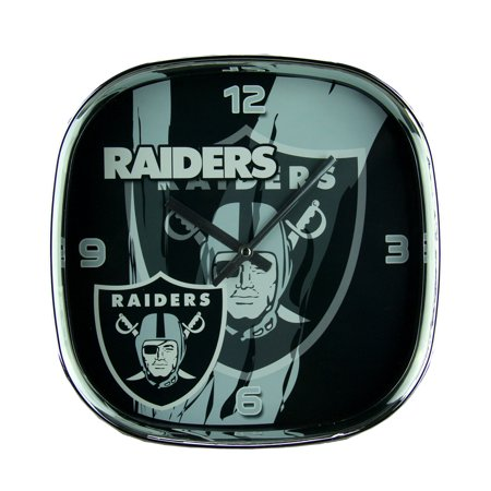 - NFL Oakland Raiders Glass Face Wall Clock Chrome Finished Frame