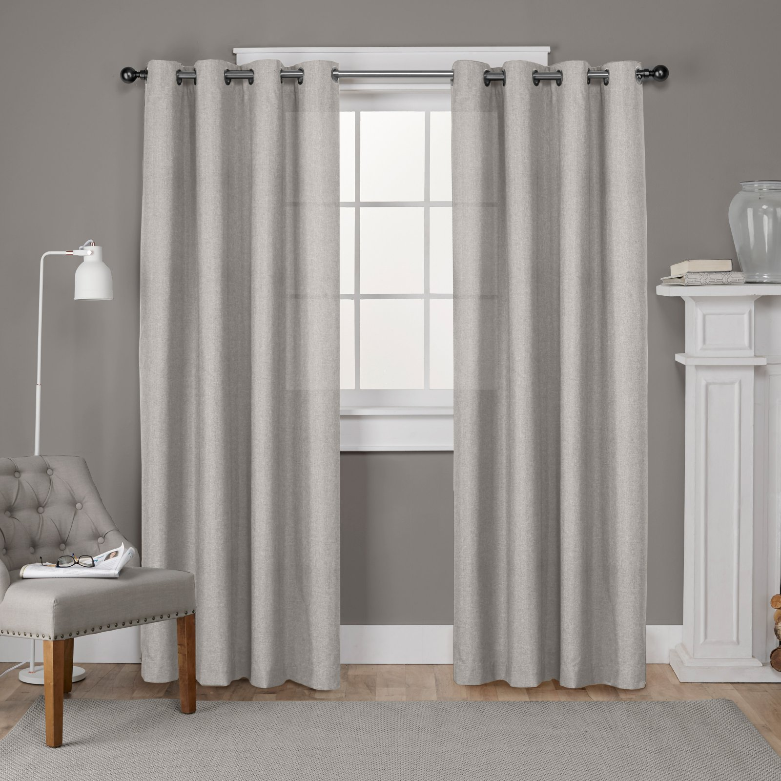 Exclusive Home Loha Linen Window Curtain Panel Pair with Grommet Top