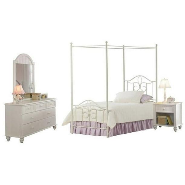 Bowery Hill 4 Piece Twin Metal Canopy Bedroom Set In Off White Walmart Com Walmart Com
