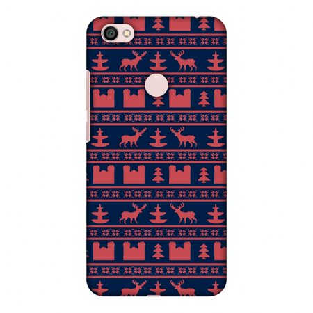 Reindeer Folded Note - Xiaomi Redmi Note 5A Prime Case - Reindeer repeats- Midnight blue and coral, Hard Plastic Back Cover, Slim Profile Cute Printed Designer Snap on Case with Screen Cleaning Kit