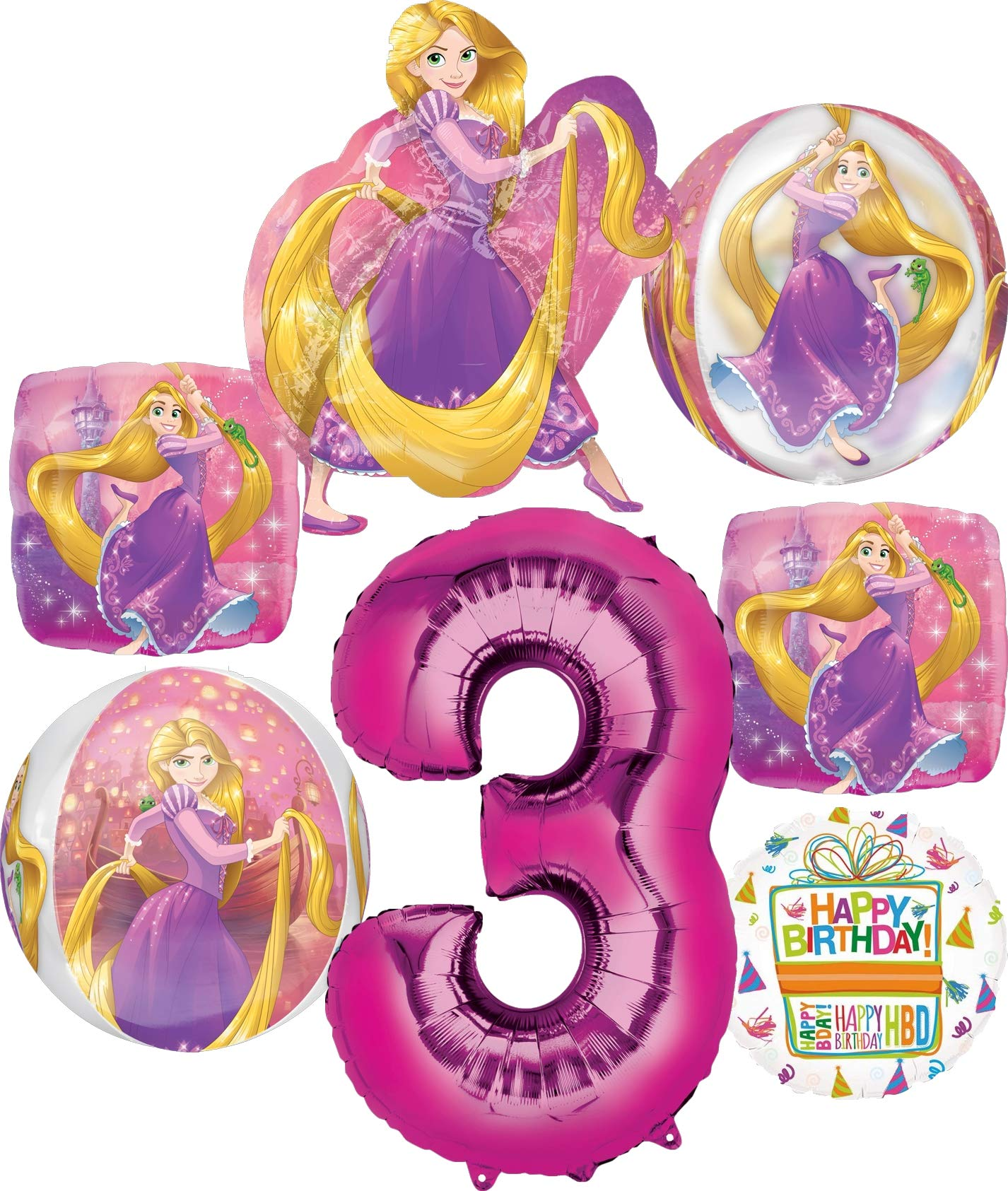 Moana Party Supplies 3rd Birthday Balloon Bouquet Decorations Pink Number 3
