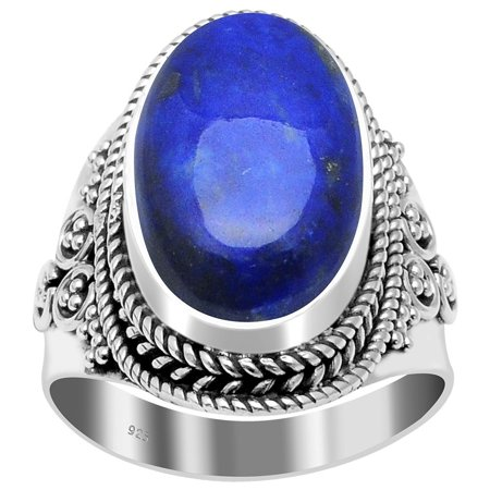 Orchid Jewelry Sterling Silver Lapis Lazuli Blue Handmade Engagement Ring + Free Jewelry Pouch