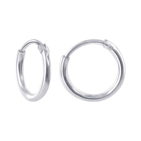 Gem Avenue 925 Sterling Silver Polished Hoop Earrings (10mm Diameter)