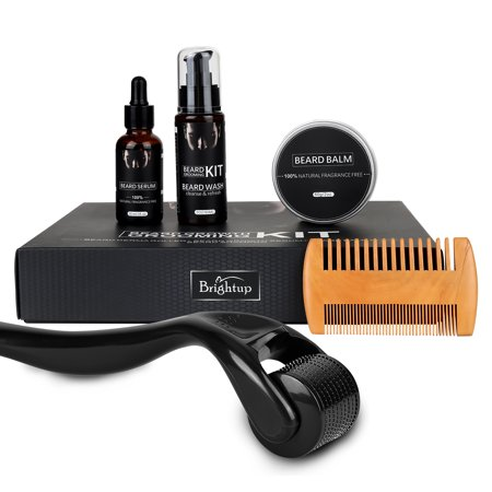 Saient Beard Growth Kit Derma Roller with Beard Growth Oil Serum for Men Patchy Facial Hair Growth Titanium Microneedle + Balm Wax + Comb, Best Gift for Men