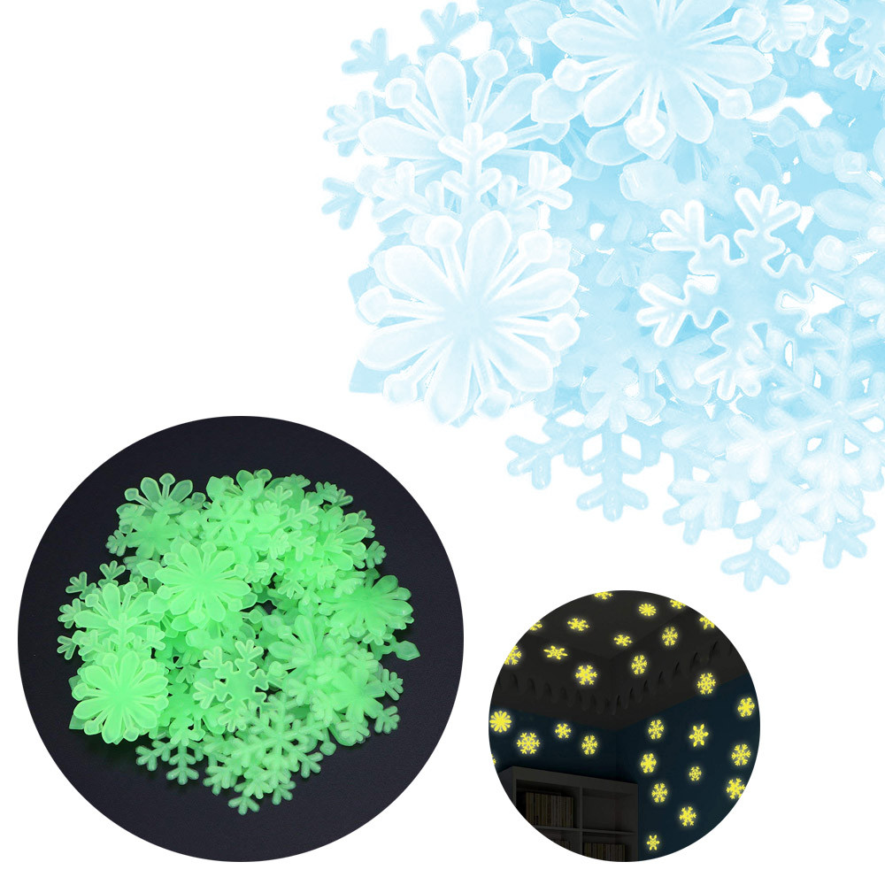 50PC Kids Bedroom Fluorescent Glow In The Dark Snowflake Wall Stickers