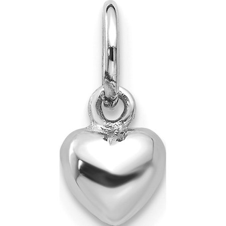 Leslies Fine Jewelry Designer 14k White Gold Solid Polished Plain Puffed Heart (5x12mm) Pendant Gift