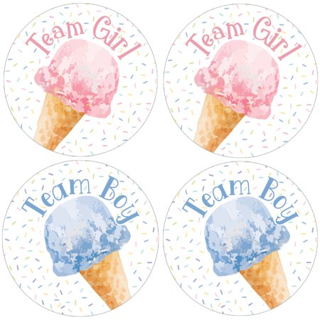 Ice Cream Gender Reveal Stickers 40 ct | 1 3/4 inch | Whats the Scoop Team Boy or Girl Party - Gender Reveal Stickers
