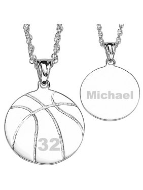 Personalized Silver-Tone Basketball Necklace