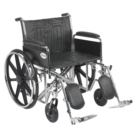 Drive Medical Sentra EC Heavy Duty Wheelchair, Detachable Full Arms,  Elevating Leg Rests, 24