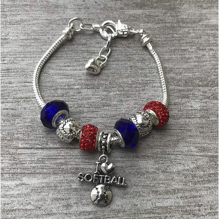 Softball Bracelet, Softball Jewelry, Softball Charm Bracelet, Softball Player, Softball Team Gift, Coaches Gifts, Sports Jewelry, Softball Esq Sport Bracelet