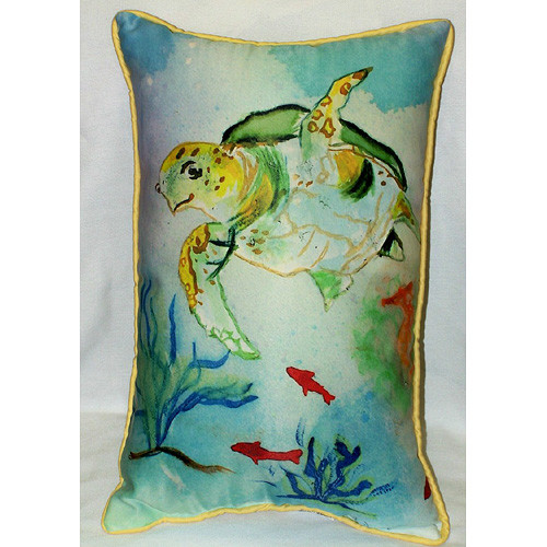 Betsy Drake Interiors Coastal Sea Turtle Indoor/Outdoor Lumbar Pillow