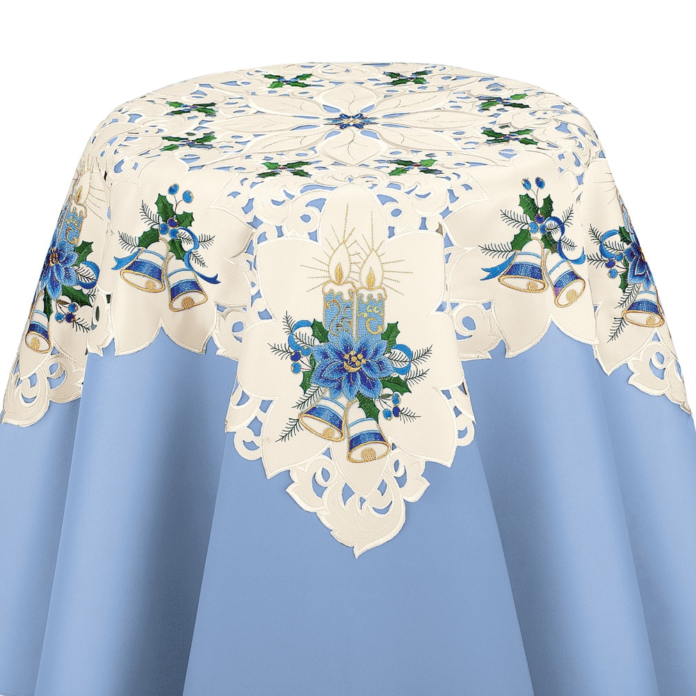 Blue Candles & Bells Decorative Christmas Table Linens, Runner by Collections Etc