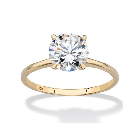 2 TCW Round Cubic Zirconia Solitaire Engagement Ring in Solid 10k Yellow Gold (Solid Gold Cz Engagement Ring)