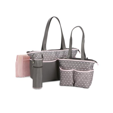 Baby Boom Multi Piece Diaper Bag Tote Set Geometric Print
