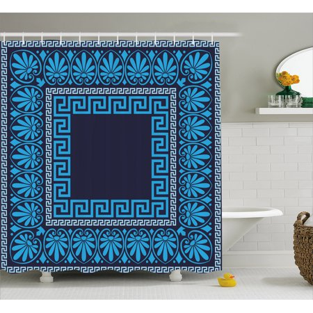 Greek Key Shower Curtain, Grecian Meandros Pattern with Intricate Lines Floral Figures in Blue Shades, Fabric Bathroom Set with Hooks, Blue Dark Blue, by Ambesonne