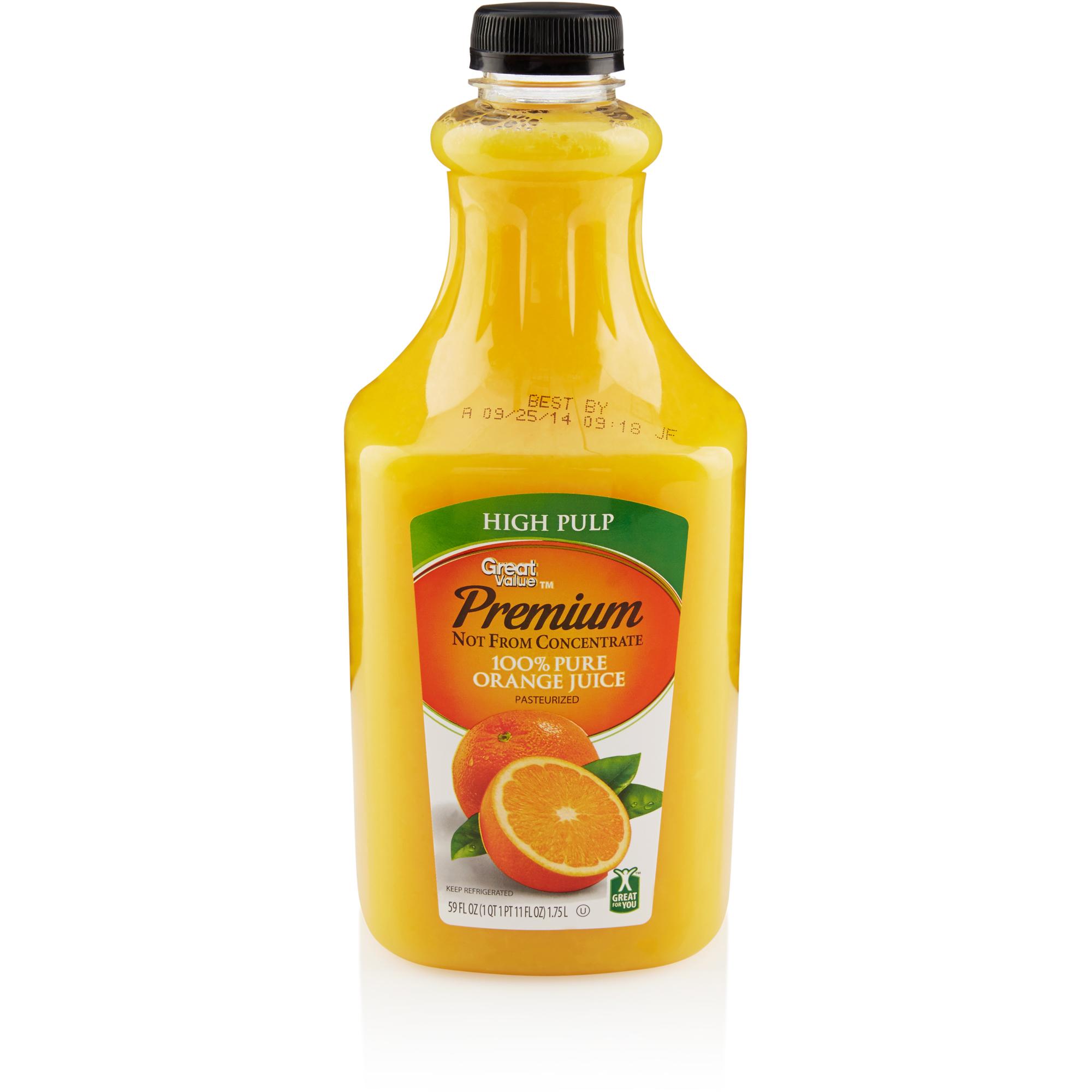 Great Value High Pulp 100% Pure Orange Juice, 59 fl oz