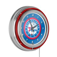 Philadelphia 76ers NBA Chrome Double Ring Neon Clock