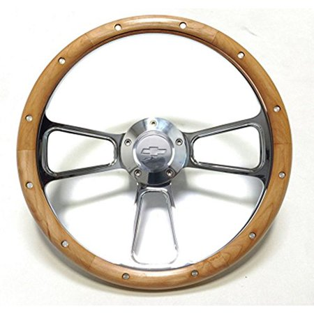 "New World Motoring Hot Rod Street Rod Rat Rod Chevy 14"" Chrome & Real Alderwood Steering Wheel"