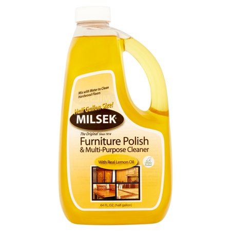 Milsek Furniture Polish & Multi-Purpose Cleaner with Real Lemon Oil, 64 fl oz