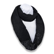 Lightweight Rayon Infinity Scarf with Iridescent Rhinestone Accents