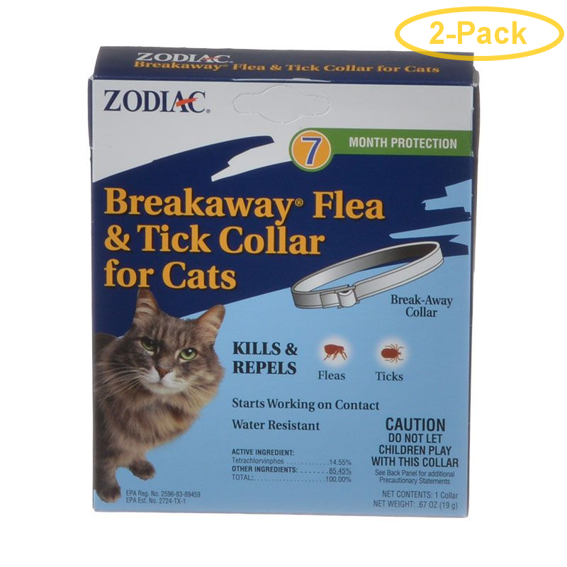 (2 Pack) Zodiac Breakaway Flea & Tick Collar for Cats, 7 Month Supply