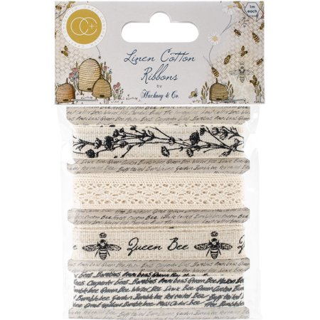 Bee Craft - Craft Consortium Tell The Bees Cotton Linen Ribbon 4/Pkg-4 Designs/1m Each
