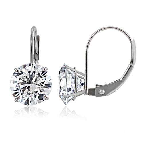 Icz Stonez 14k Gold 7mm 2.5ct  Round Cubic Zirconia Leverback Earrings 14k White Gold