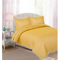 Your Zone Solid Pom Pom Quilt Set, Multiple Colors