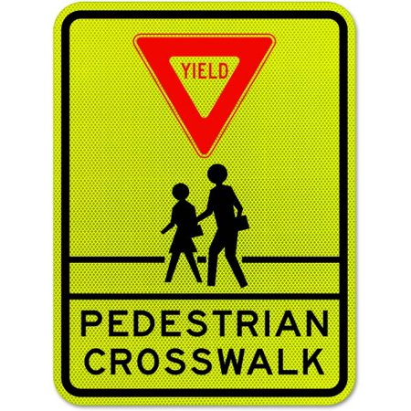 Traffic Signs - Yield Pedestrian Crosswalk Sign 12 x 18 Plastic Sign Street Weather Approved Sign