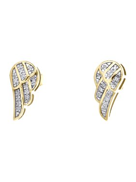 10K Yellow Gold Diamond Angel Wing Studs 13mm Frame Mens Pave Earrings 0.07 CT.