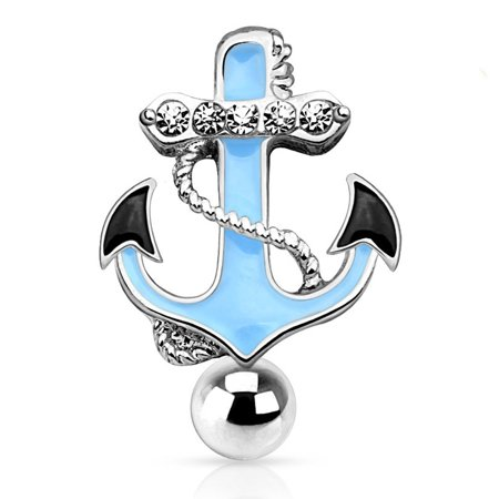 Pave CZ Surgical Steel Reverse Hinged Top Down Glossy Anchor Belly Ring ()