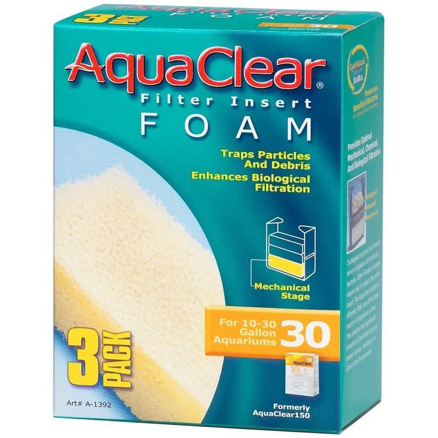 AquaClear 30 Filter Insert Foam, 3pk