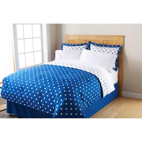 Mainstays Dot Bed in a Bag Bedding Set, Blue Eclipse
