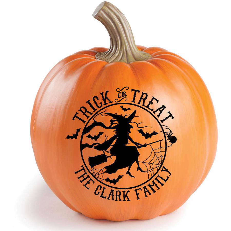 Personalized Happy Halloween Or Treak Or Treat Resin Tabletop Pumpkin