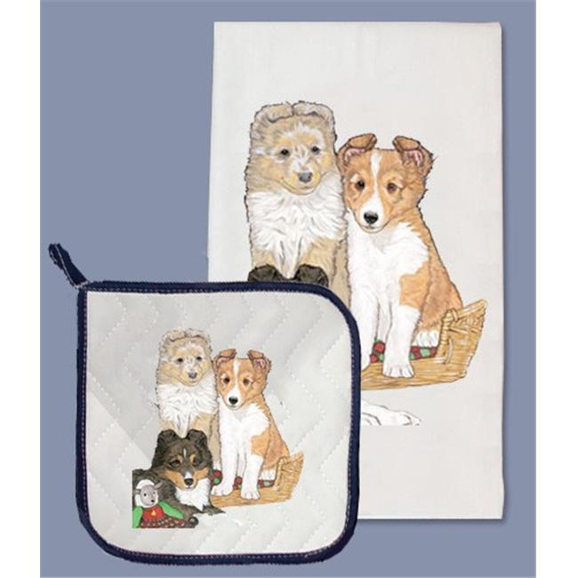 Pipsqueak Productions DP930 Sheltie Dish Towel And Pot Holder Set