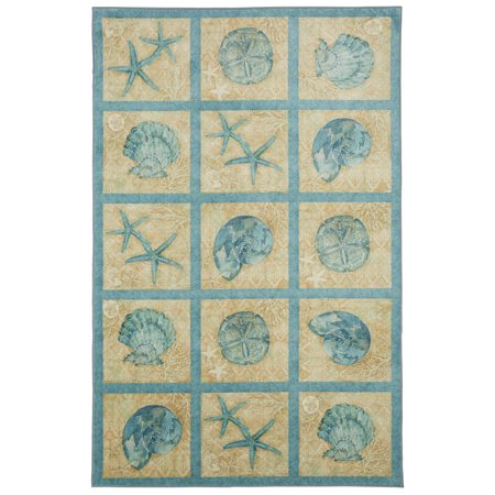 - Mohawk Prismatic Area Rugs - Z0320 A489 Contemporary Dark Slate Gray Clams Sea Shells Blocks Grid Rug