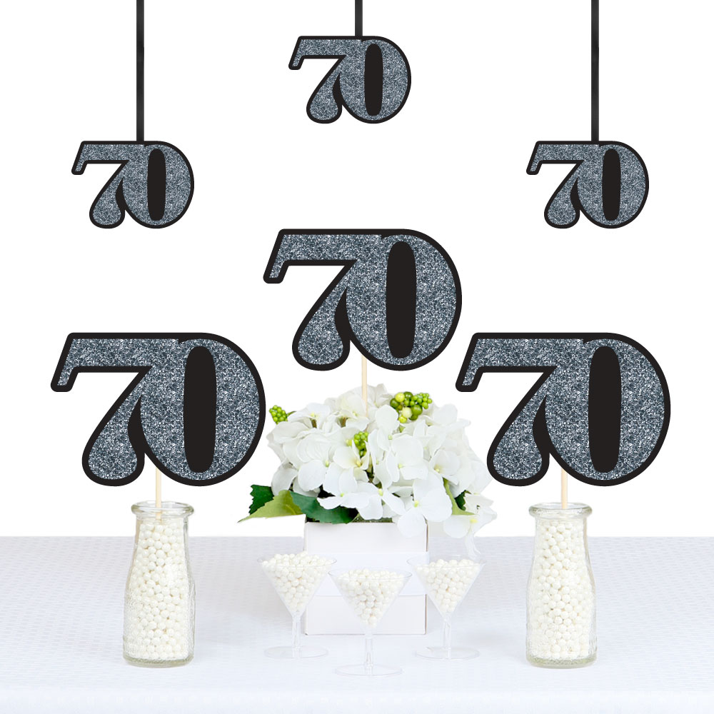 Adult 70th Birthday - Silver - Decorations DIY Party Essentials - Set of 20